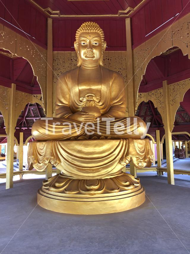 Golden buddha at the pavilion of the Enlightened at the Ancient Siam, Thailand