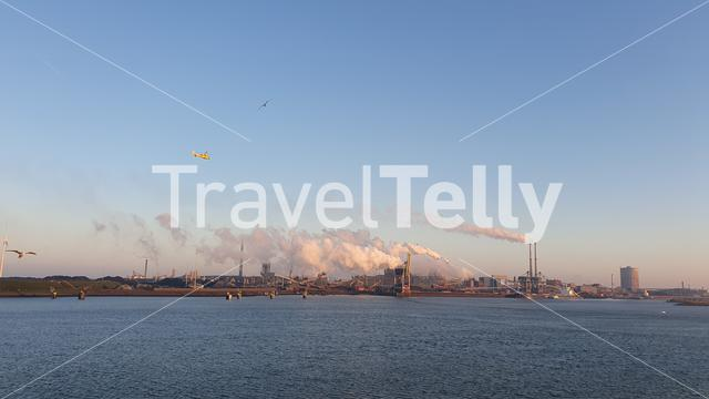 IJmuiden skyline with factories seen from ferry
