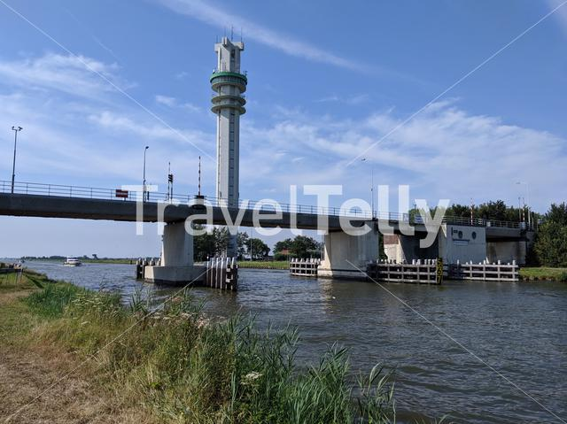 Bridge over the Princess margriet canal in Spannenburg, Friesland The Netherlands