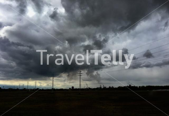 Dark clouds above industry in Slovakia
