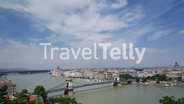 Skyline of Budapest from Buda Castle and Danube River which separates Buda and Pest
