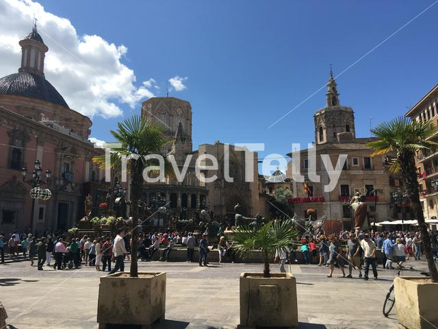 Crowd at the Plaza de la Virgen with the Valencia Cathedral in Spain