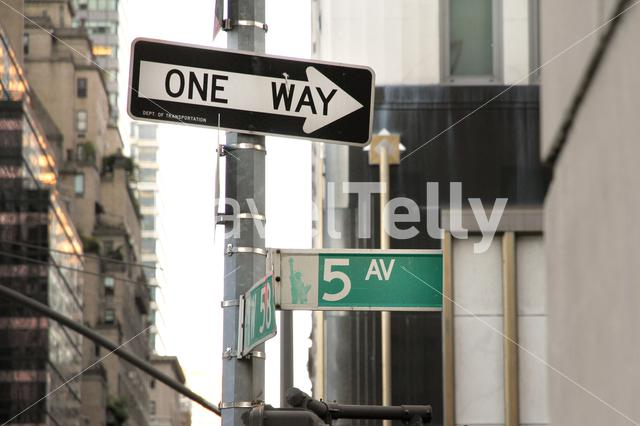 Signs One Way and 5th avenue, New York City, USA