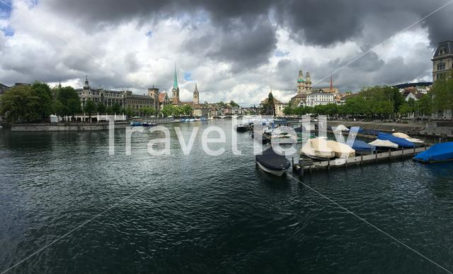 Panorama from the Limmat river with the St. Peter, Fraumünster and Grossmünster Church in Zurich Switzerland