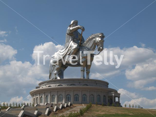 Genghis Khan on a horse statue in Mongolia