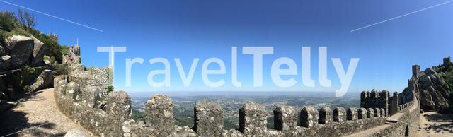 Panorama from the wall of Castelo dos Mouros in Sintra Portugal