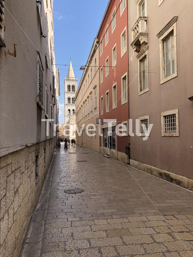 Street towards the Bell Tower in Zadar Croatia