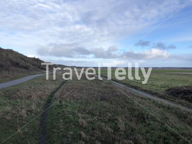 Bicycle path on Texel island in The Netherlands