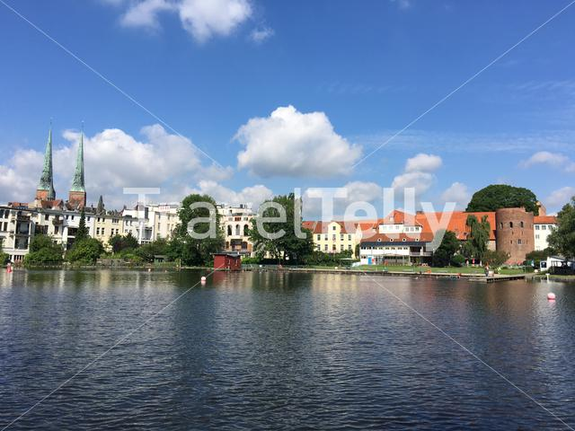 Krähenteich lake in the old town of Lübeck Germany