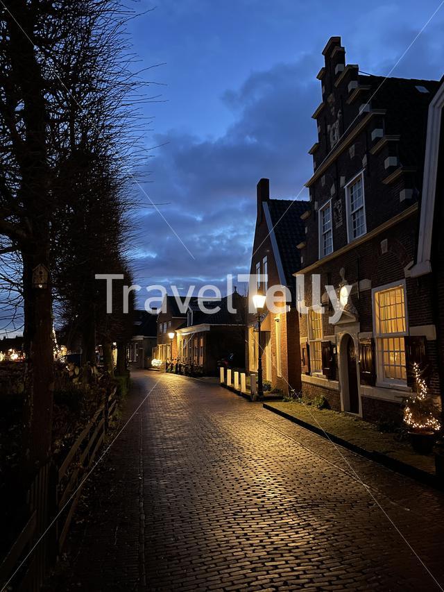 Street at night in IJlst Friesland The Netherlands