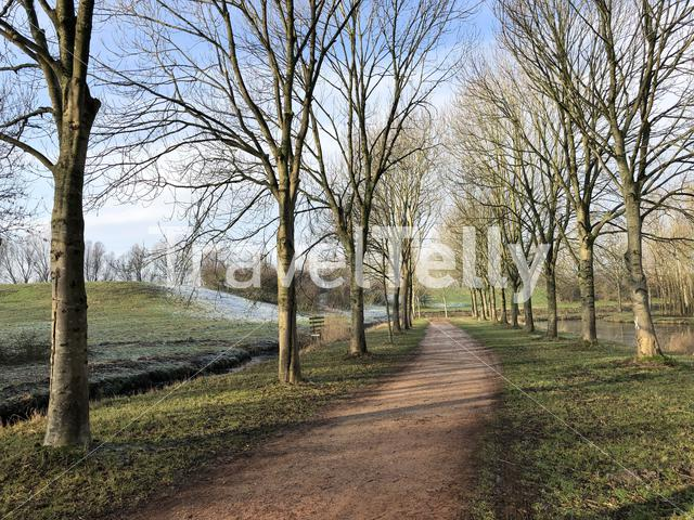 Path through the Mayor Rasterhoffpark in Sneek, Friesland The Netherlands