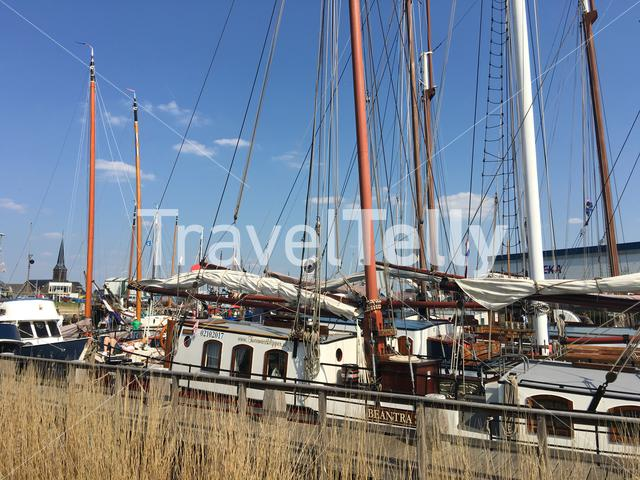 Sailboats in the harbour of Lemmer, Friesland The Netherlands