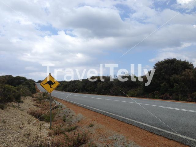 Kangaroo sign next to a road in Albany Western Australia