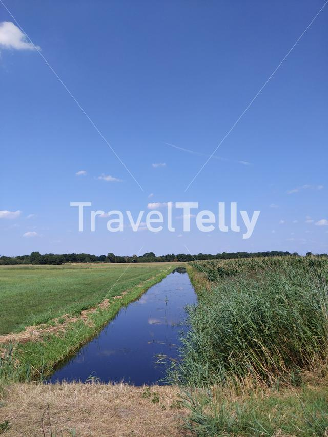 Canal and farmland around Paasloo, The Netherlands