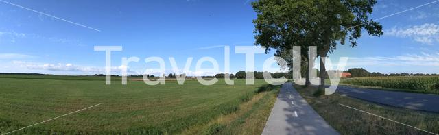 Panoramic landscape from farmland around Mantinge in Drenthe, The Netherlands
