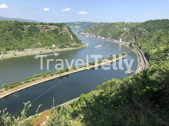 View of the Rhine river from hill of the Loreley, Germany