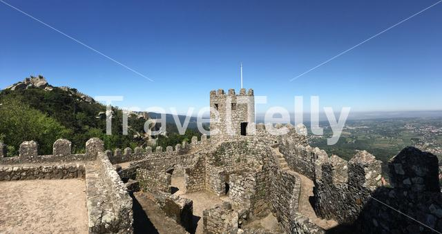 Panorama from a tower and wall at the Castelo dos Mouros in Sintra Portugal