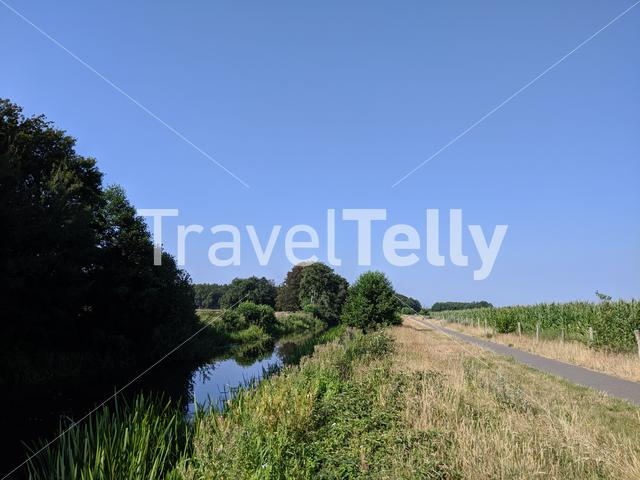 Canal and bicycle path around Oranjewoud in Friesland, The Netherlands