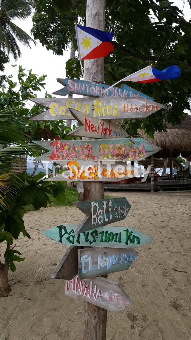 Colorful signs on beach in the Philipinnes