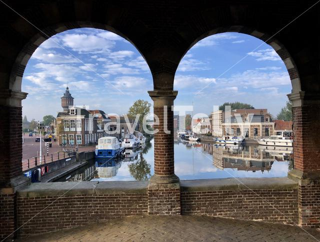 View from the Waterpoort in Sneek, Friesland The Netherlands