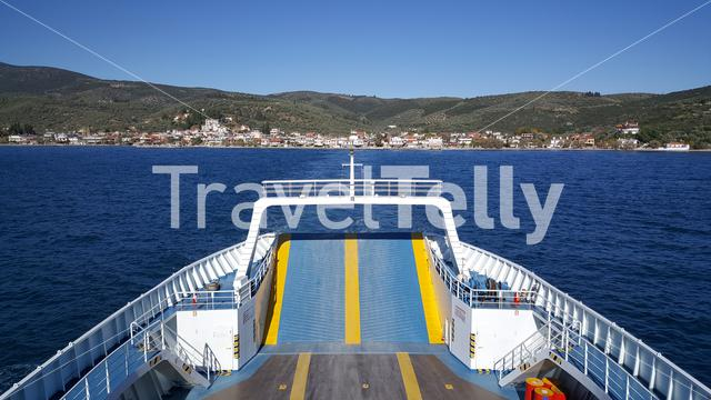 Leaving the town Glifa with a ferry in Greece
