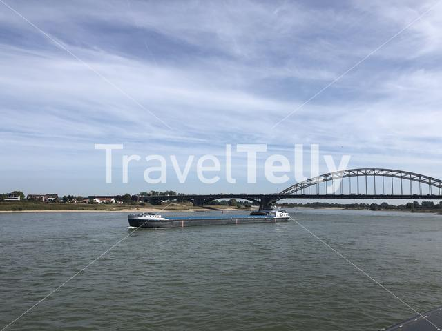 Cargo ship on the Waal river in Nijmegen, The Netherlands