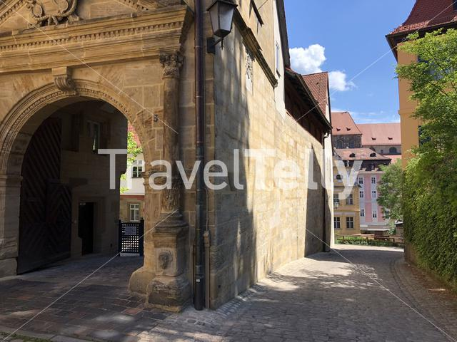 Gate in the old town of Bamberg Germany
