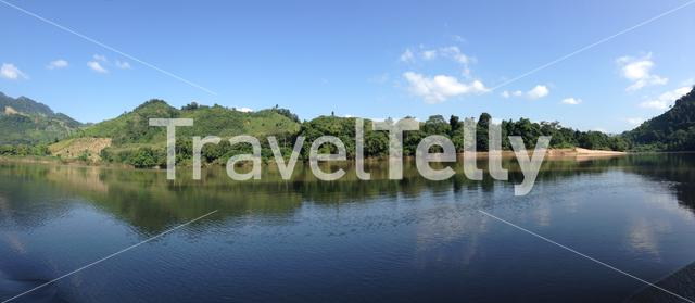Panorama from the nam ou river in Laos