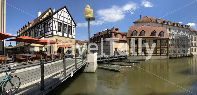 Panorama from the Linker regnitzarm river in Bamberg, Germany