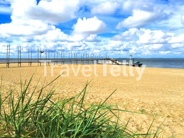 Ferry to Vlieland at the beach of Texel The Netherlands