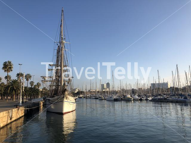Sailboats in the harbor of Barcelona in Spain