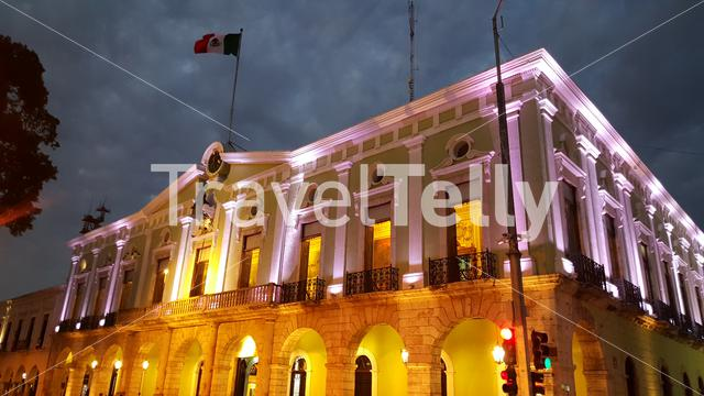 Palace of Government at night in merida Yucatan, Mexico