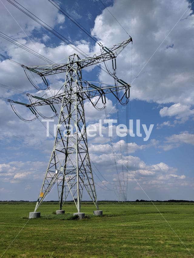 Electricity pylon in Friesland The Netherlands