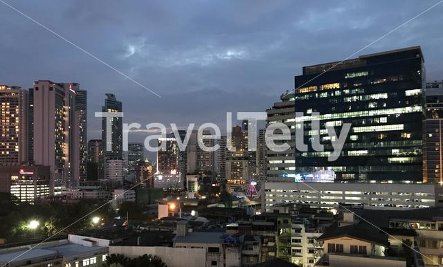 Panorama from the Bangkok skyline in the evening