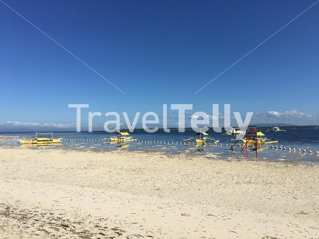 Transfer Catamaran Boats at Virgin Island with low tide in Panglao, Bohol the Philippines