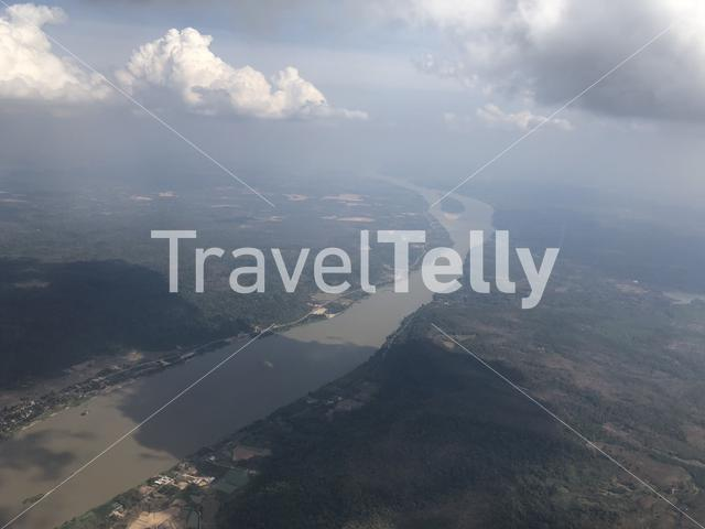 Flying over the Mekong river at Vientiane Laos
