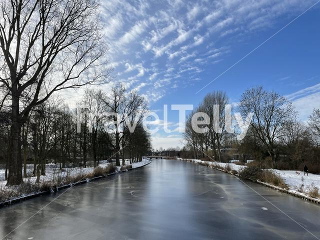 Frozen canal in Sneek in Friesland The Netherlands