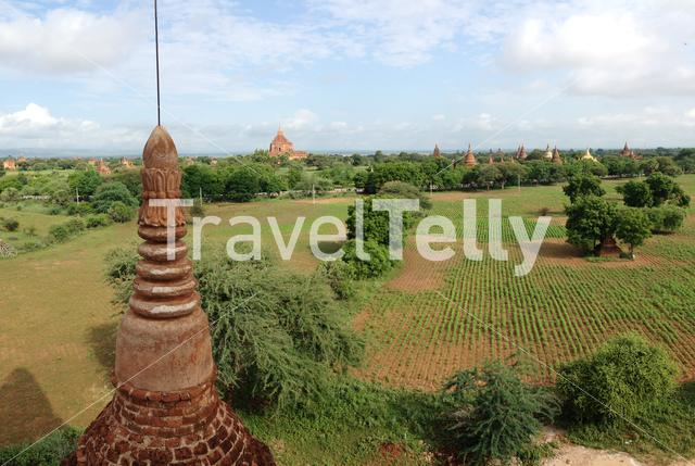 Pagodas view from the buledi pagoda in Bagan Myanmar