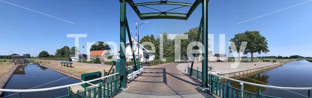 Panorama from a canal lock in Friesland, The Netherlands