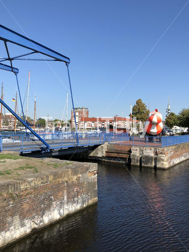 Bridge at the old inland port in Emden, Germany