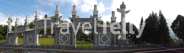 Panorama from a wall around the Wenwu Temple at the Sun Moon Lake Taiwan