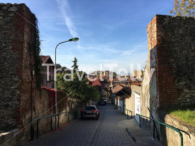 Medieval wall and entrance towards the old town of Brasov Romania