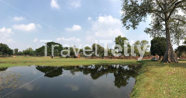 Pond in front of the Wat Phra Sri Sanphet, the most important temple in the Ayutthaya Kingdom, Thailand