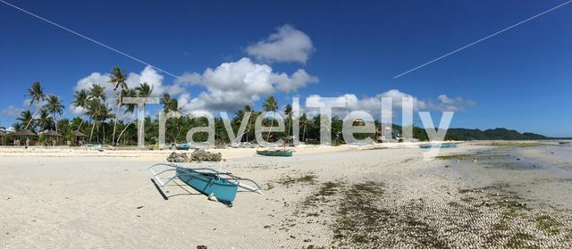panorama from catamaran Boats and palmtrees at the beach in Anda Bohol the Philippines