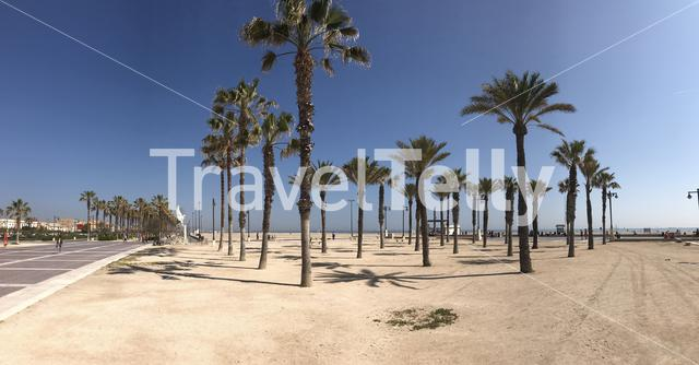 Las Arenas beach panorma in Valencia Spain
