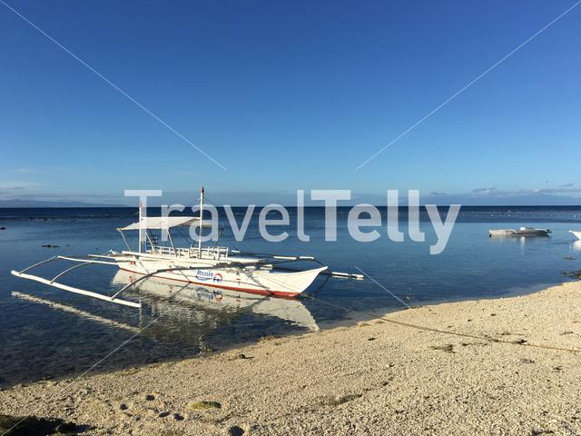 Catamaran Boat at the reef during low tide in the morning at Balicasag Island in Bohol the Philippines