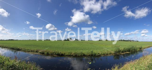 Frisian landscape panorama in The Netherlands
