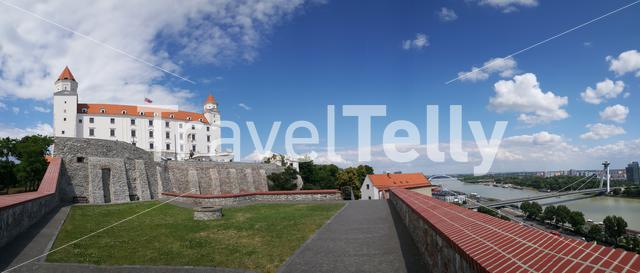 Panorama from the Most SNP and the Bratislava Castle in Slovakia