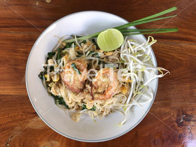 Pad Thai dish around the Santa Cruz Church in Bangkok Thailand