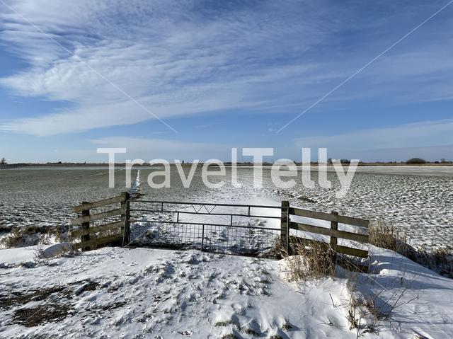 Winter landscape around Sneek in Friesland The Netherlands